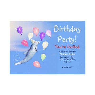 Kids Happy Birthday Party Dolphin Custom Invites by xfinity7