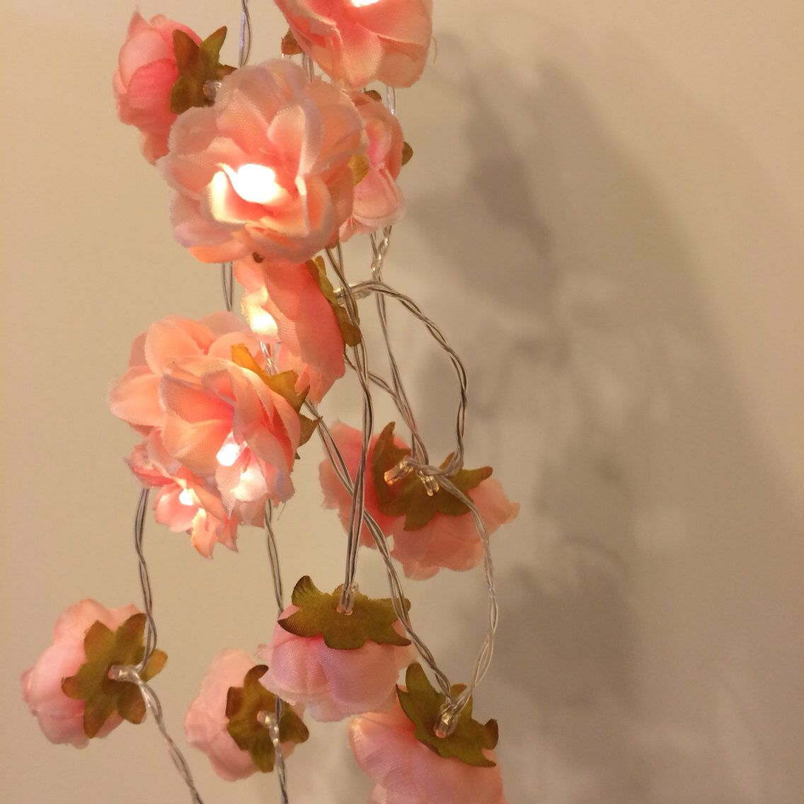 Pink String Lights Wild Rose Garland Fairy Lights In Coral Peachy Pink Bedroom String