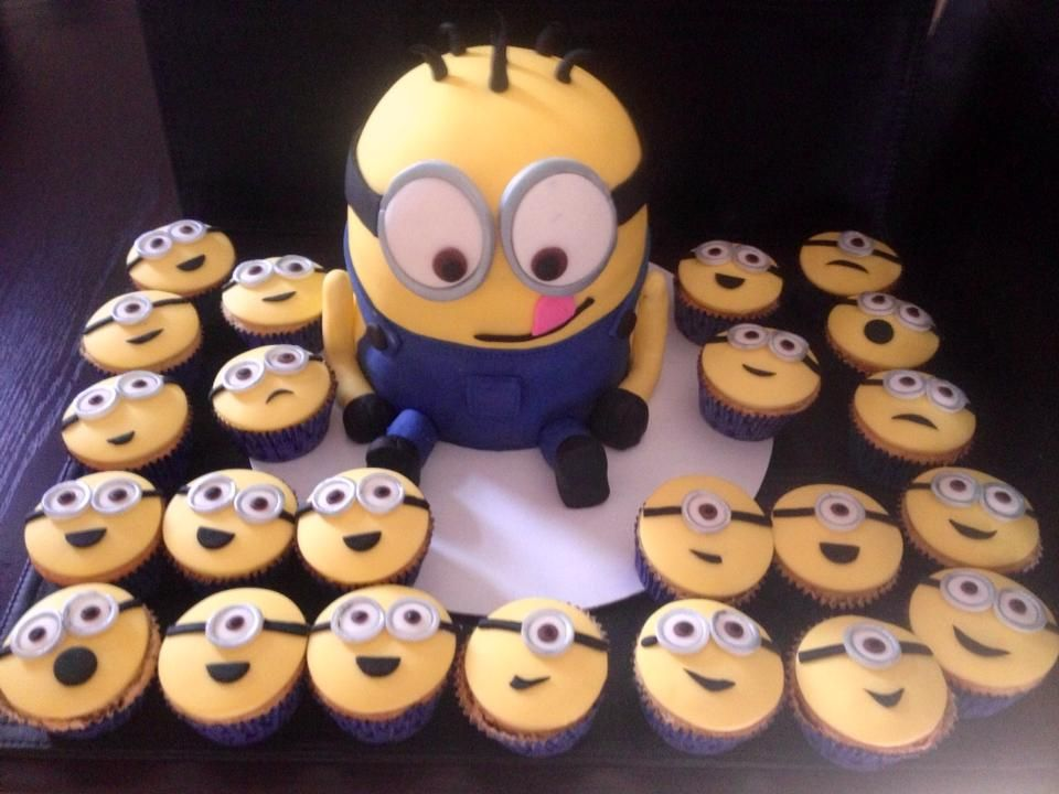 Minion Cake And Cupcakes I Did For A 2 Year Olds Birthday Party