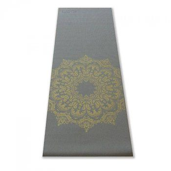 Warm Grey Yoga Mat with Gold Mandala print Sticky and with free drawstring €