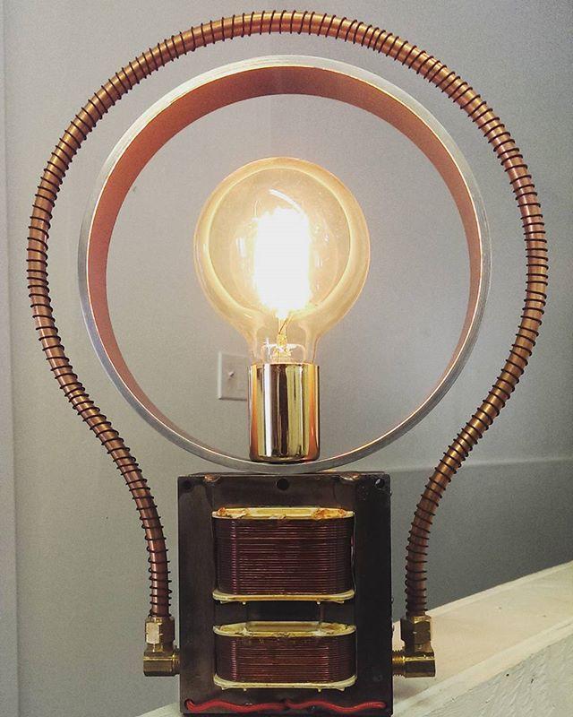 """IDEA"" lamp 3 level touch by Ross Hayduk dimmer#industrial#interior design#retro#repurposed#reuse#recycled#retro#artedellaluce#artdulumiere#newwestart#artforsale#bcartist#canadianart#upcycle#artlamp#maker#believe#industrialdesign#eco#artdeco#decorator#metalart#assemblage#unique#dream#exclusive#lightingdesign#funky#metalart#sculpture#designer#edisonbulb"