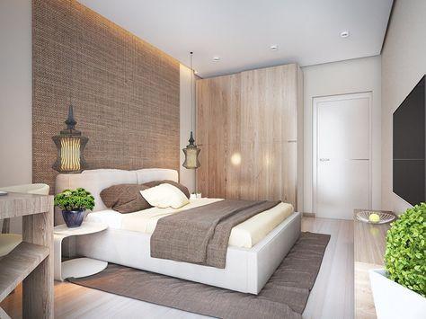 Schlafzimmer in weiß und beige - helles Holz und grober Stoff