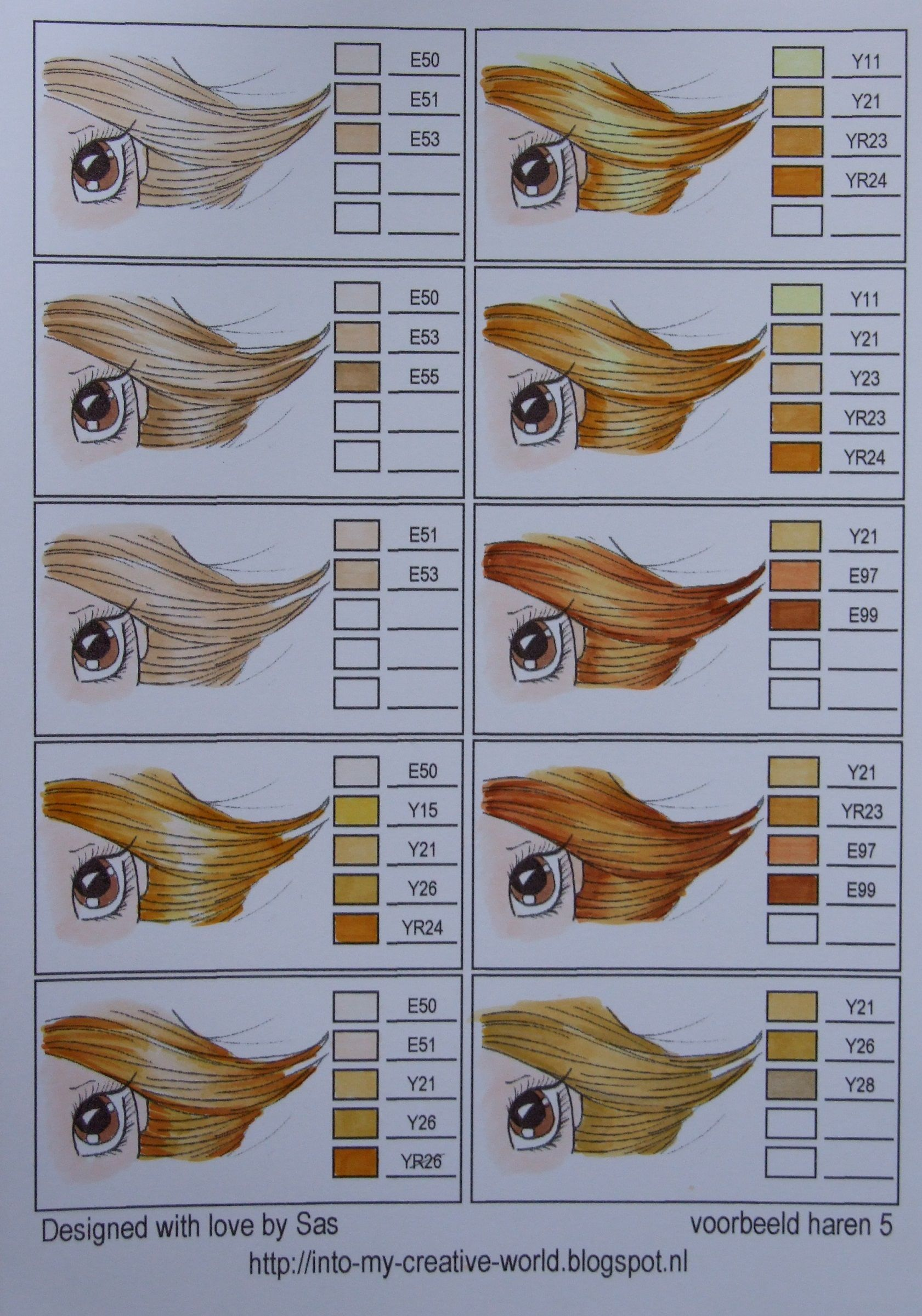 Copic Coloring Chart Hair 05 From Iwona Plamountain