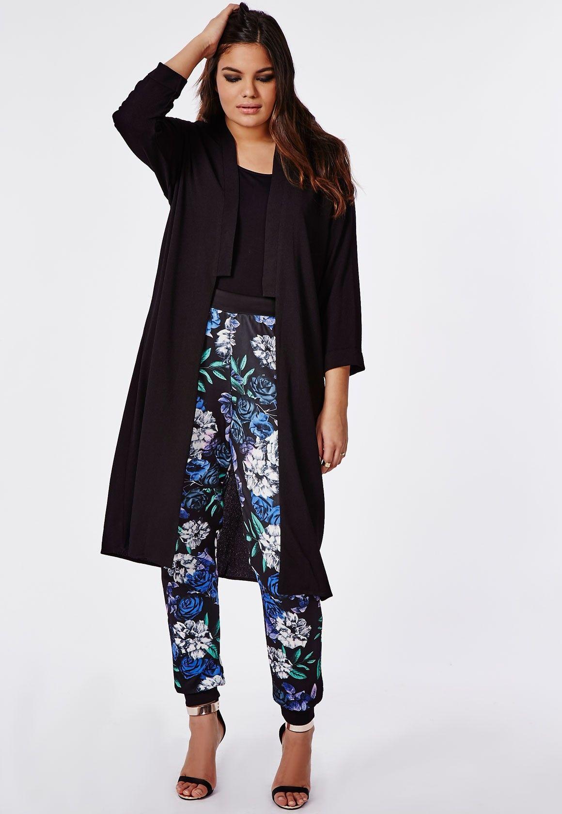 Plus Size Longline Crepe Jacket Black - Missguided +