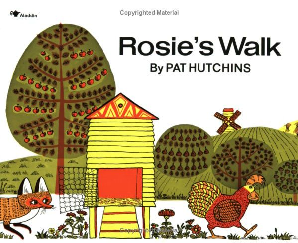 Rosie's Walk by Pat Hutchins: 'A sunny, slapstick, silent comedy', this is 2yo Nora's very favorite! #Kids #Books #Pat_Hutchins #Rosies_Walk