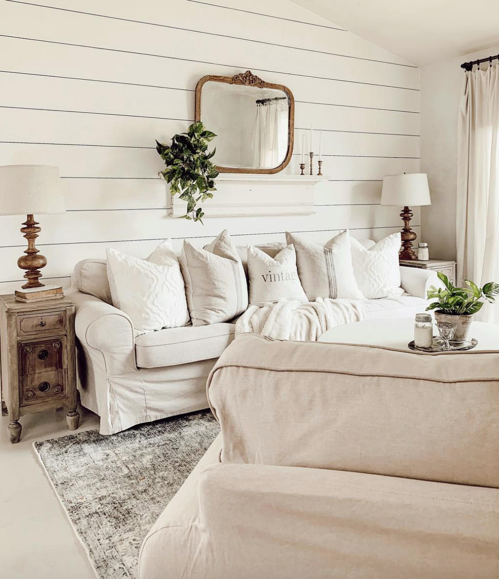 Best Vintage Inspired Living Room Decor With Farmhouse Neutrals White Shiplap And Antique C 400 x 300