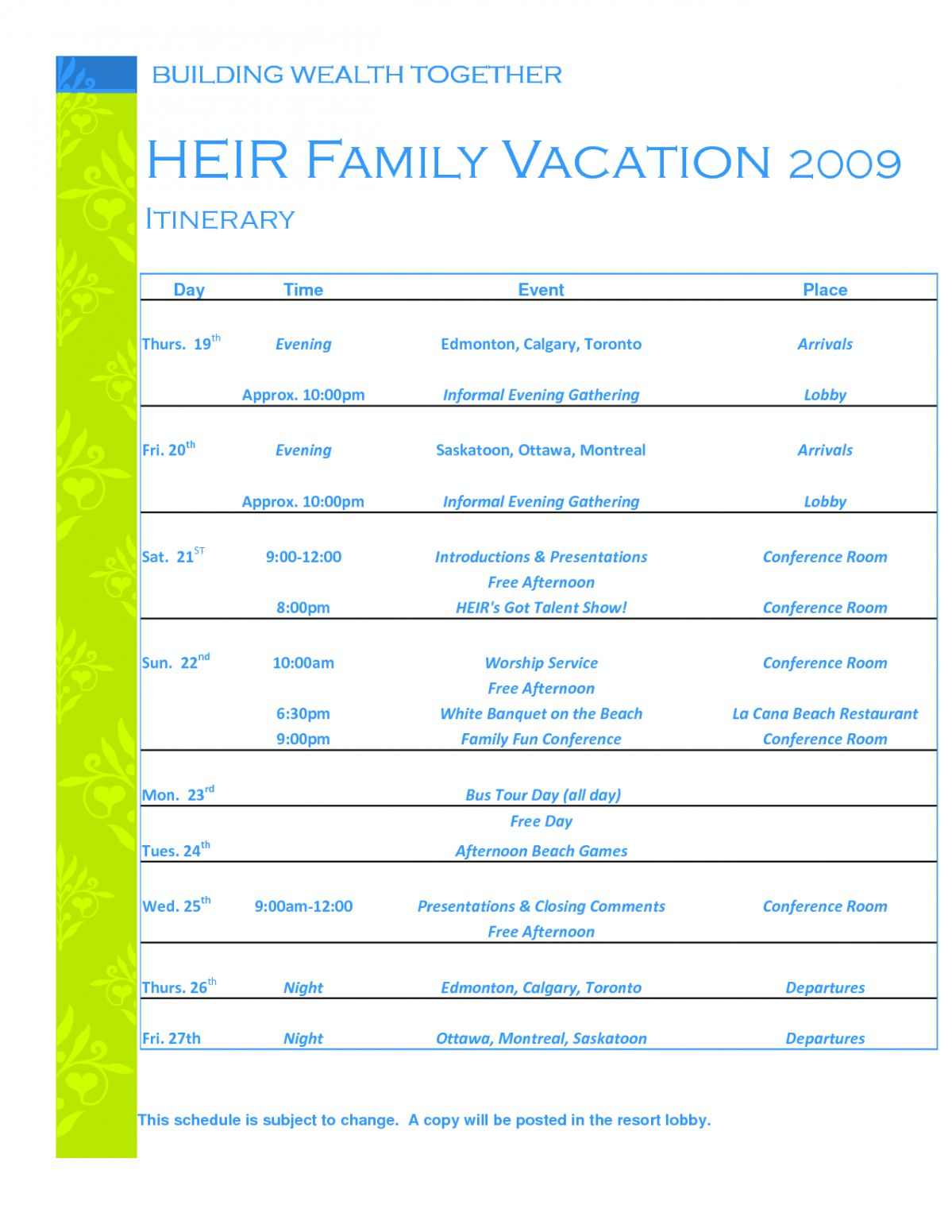 Family Trip Agenda Template Vacation Calendar Schedule Family Trip Itinerary Template Doc Travel Itinerary Planner Travel Itinerary Template Itinerary Template Example of itinerary for tour
