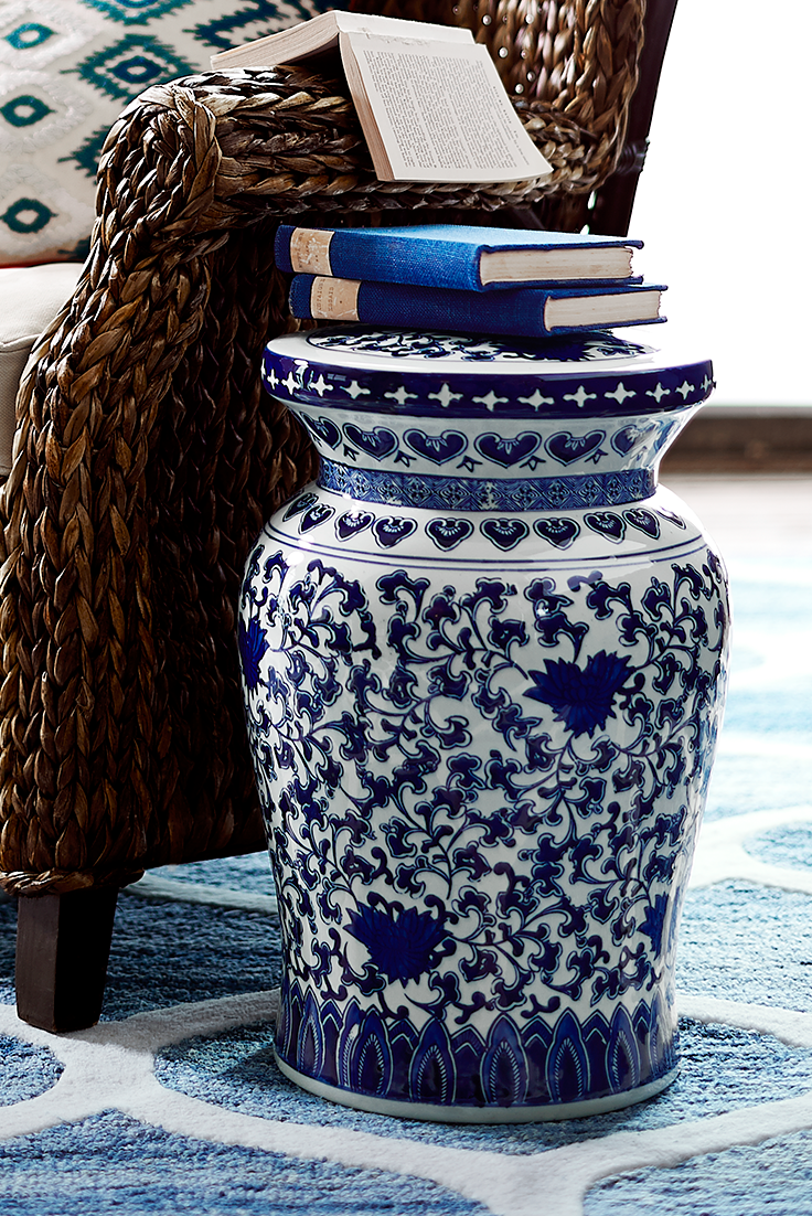 Beautiful Blue and White Garden Stool