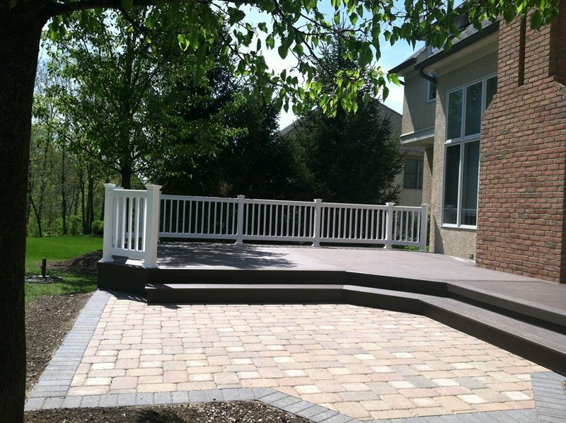 Wood Deck And Stone Patio Combination