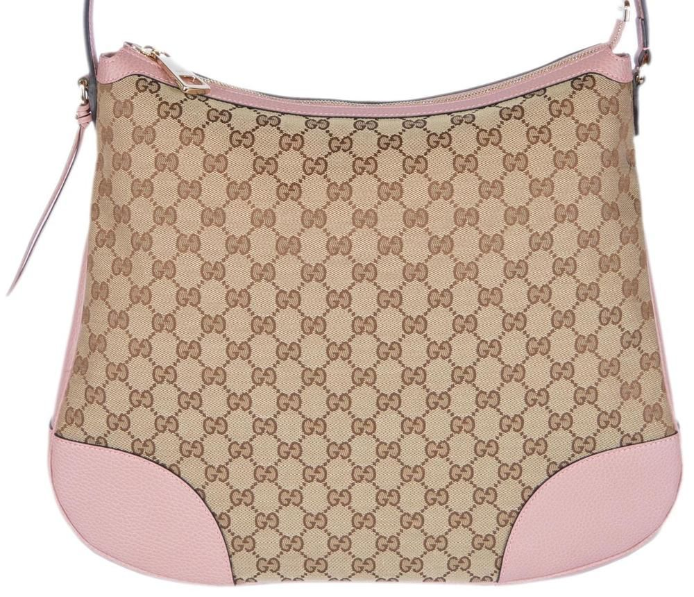 463719d83 NEW Gucci 449244 Large BREE Canvas Beige Pink Leather Purse Hobo Handbag # Gucci #Hobo