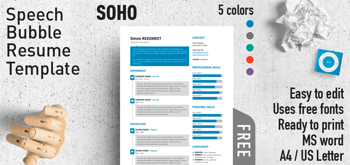 Resume Word Template Free Soho  Free Speech Bubble Resume Template For Word  Modern