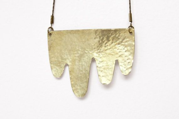 Drips Hammered Brass Necklace
