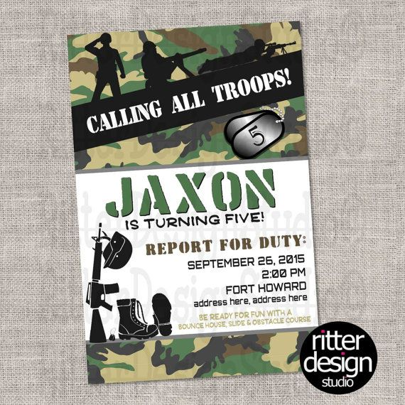 Army Military Camouflage Birthday Invitation by RitterDesignStudio