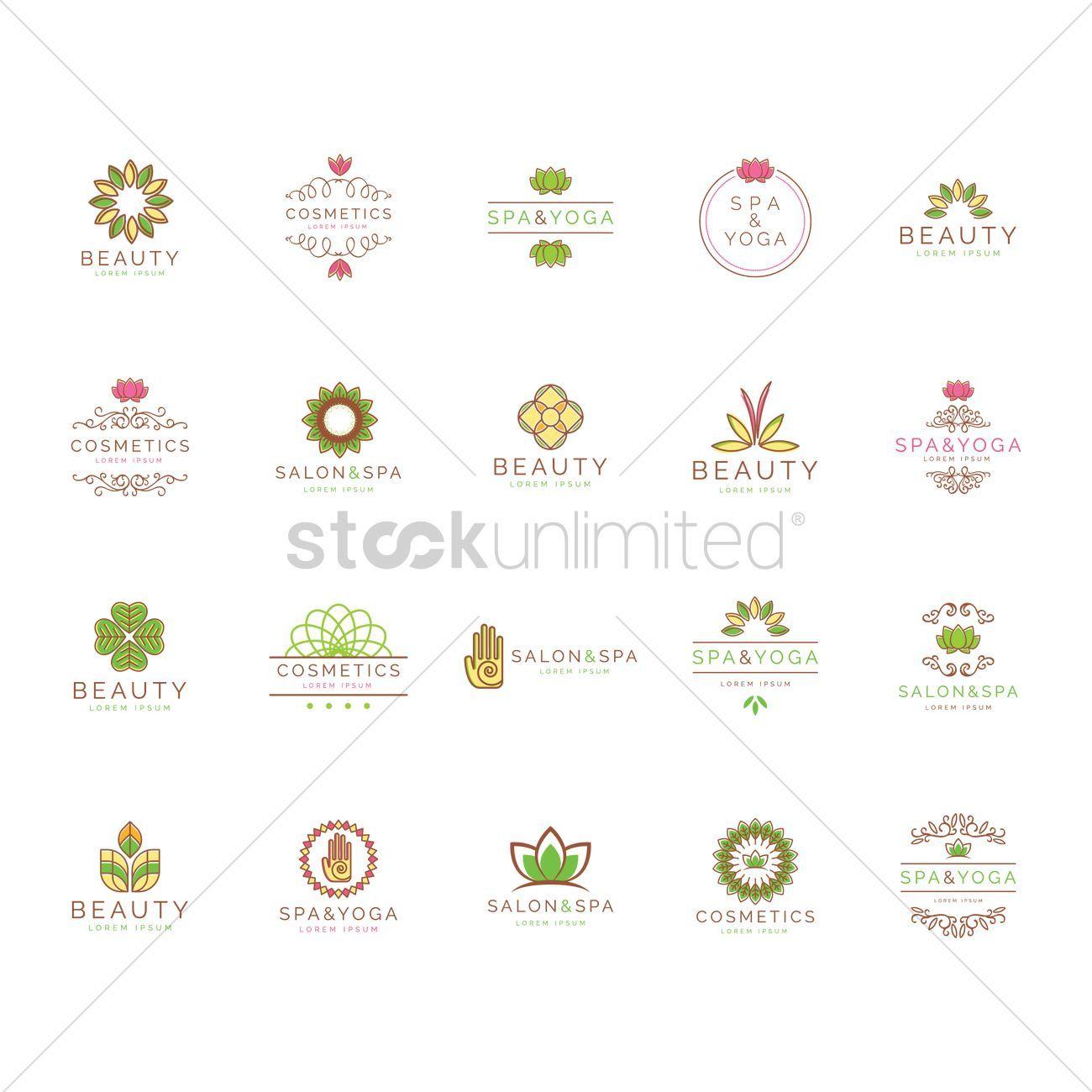 Beauty and spa logo element set vector illustration