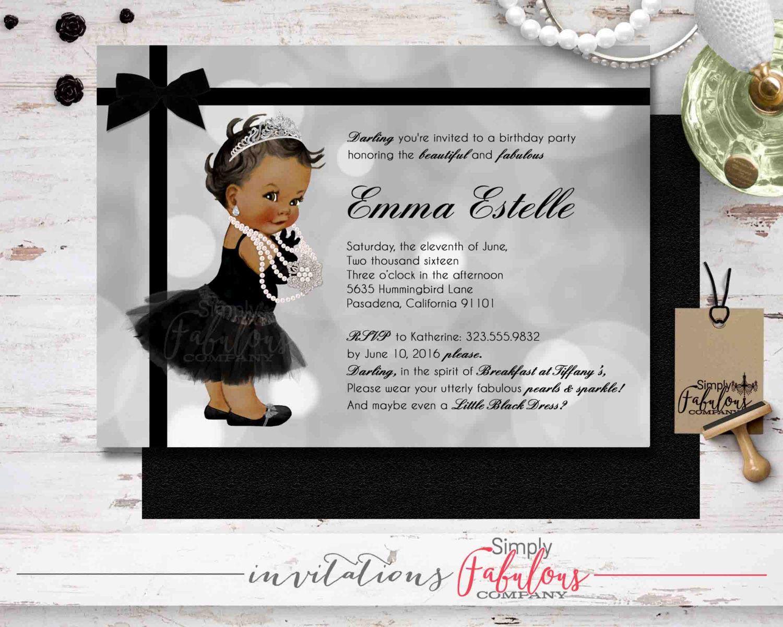 Breakfast at Tiffany\'s Baby Girl Birthday Party Invitation, Vinatge ...