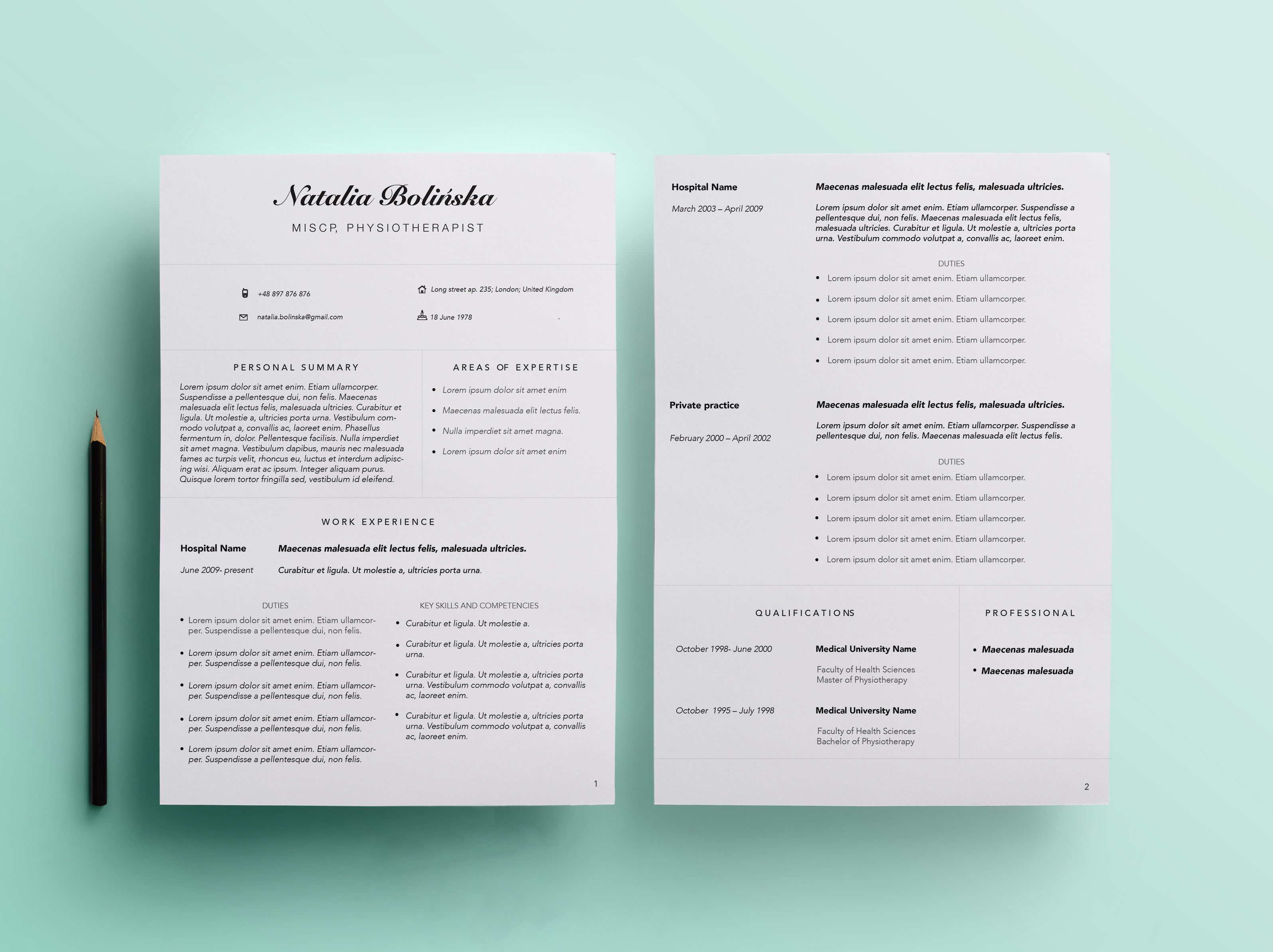 beautiful resume for physiotherapist  looking for similar one  find our shop on etsy