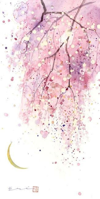 Pink Purple Watercolor Painting Blossoms Art Watercolor