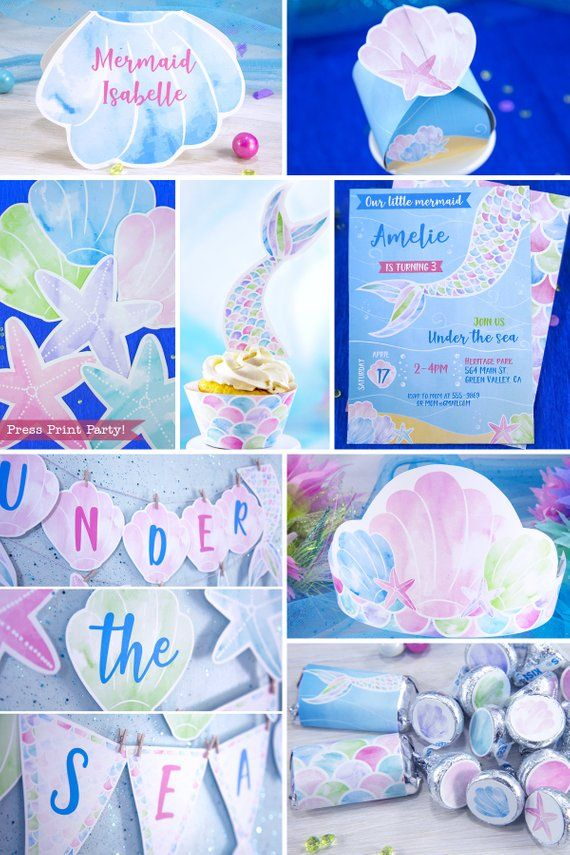 Mermaid Birthday Party Printables Memaid Favor Mermail Tail Invitation Under The S