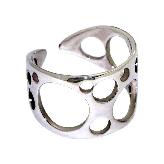 Bubbles Sterling Silver Ring Adjustable Band by arosha on Etsy