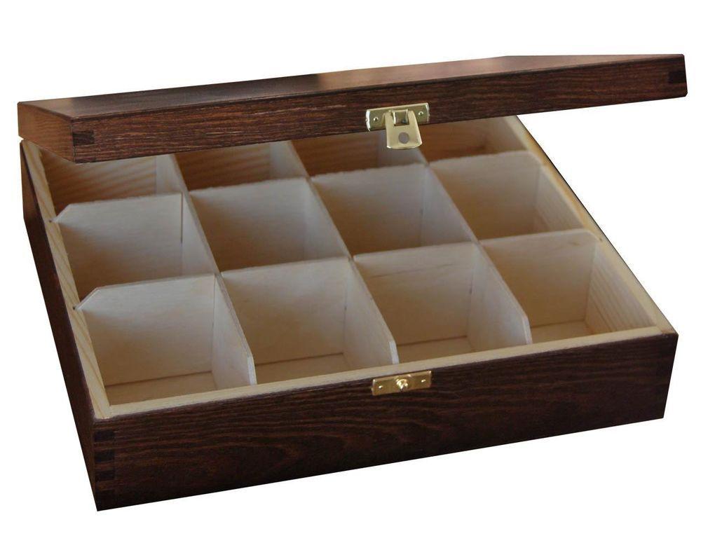 Lacquered Wood Box Tea Bag Tea Box Chest 12 Compartment 29