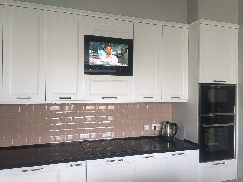 Cabinet Door Tv Avs220k In The Kitchen Interior Tv In Kitchen Kitchen Interior Cabinet Doors