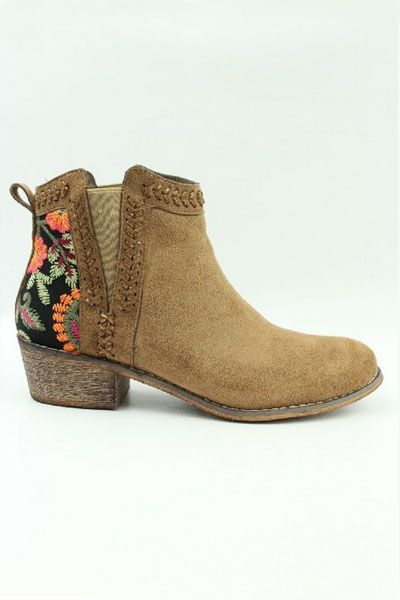 Faux Suede Floral Embroidered Booties with Low Heel-Camel Brown · Low Heel  BootsLow ...