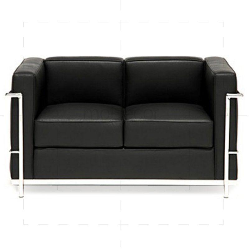Le Corbusier Lc2 Sofa Zweisitzer Mit Schwarzem Leder Kleines