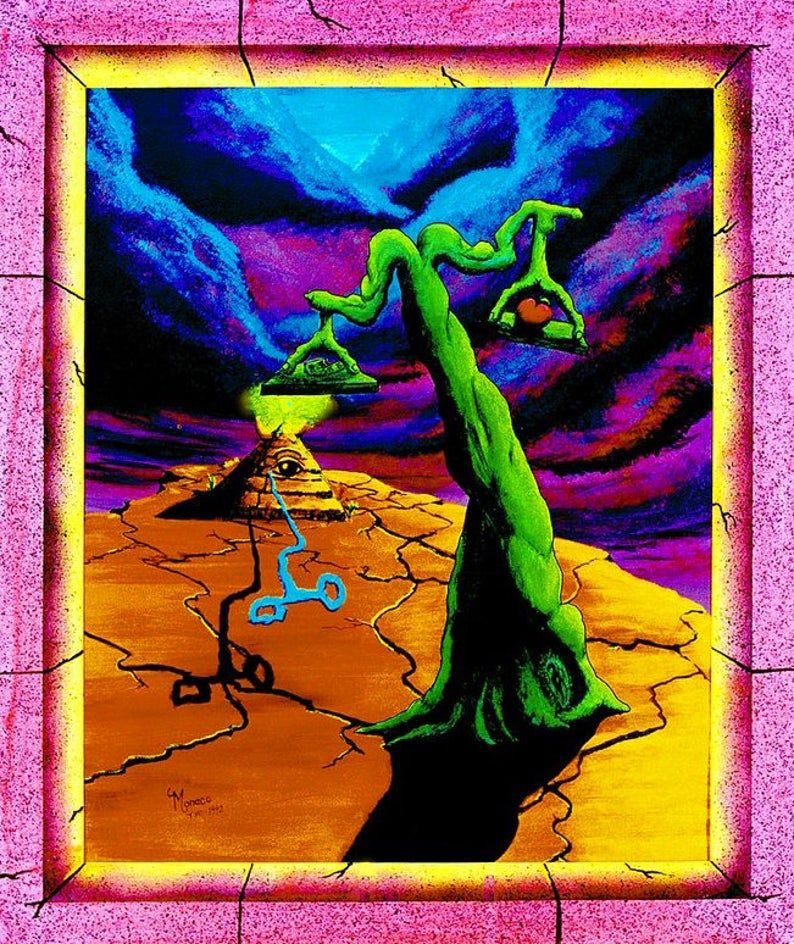 Blacklight UV Poster Trippy Psychedelic Surrealism Art By