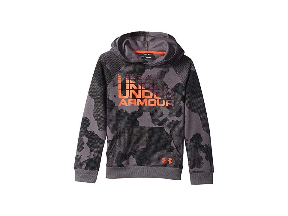 73569fcd230 Under Armour Kids Rival Wordmark Hoodie (Big Kids) (Charcoal Radio Red)  Boy s Sweatshirt. Show off your sporty style with the casual Under Armour Kids  Rival ...