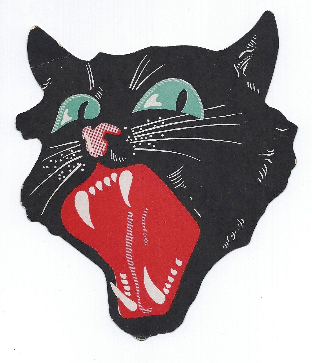 vintage halloween dennison snarling black cat die cut 1920s art deco collectible cut out antique decoration - Halloween Cat Decorations