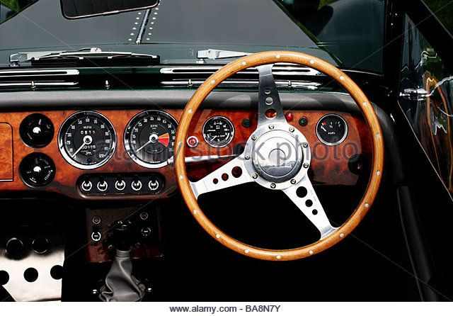 Drivers Eye View Of The Wooden Steering Wheel Dashboard And