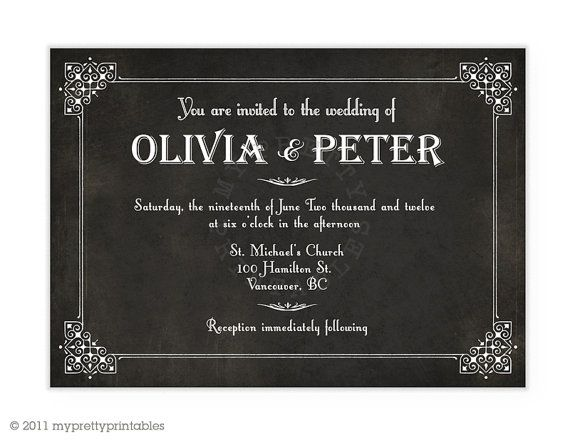 Silent film title card wedding invitation