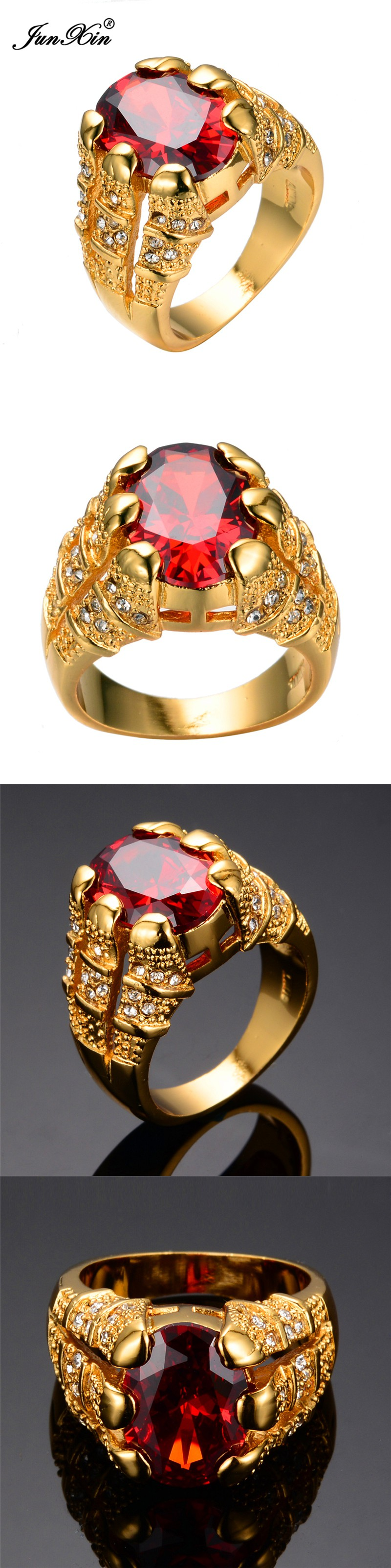 Big Oval Red Stone Crystal Sapphire Zircon Vintage Wedding Rings