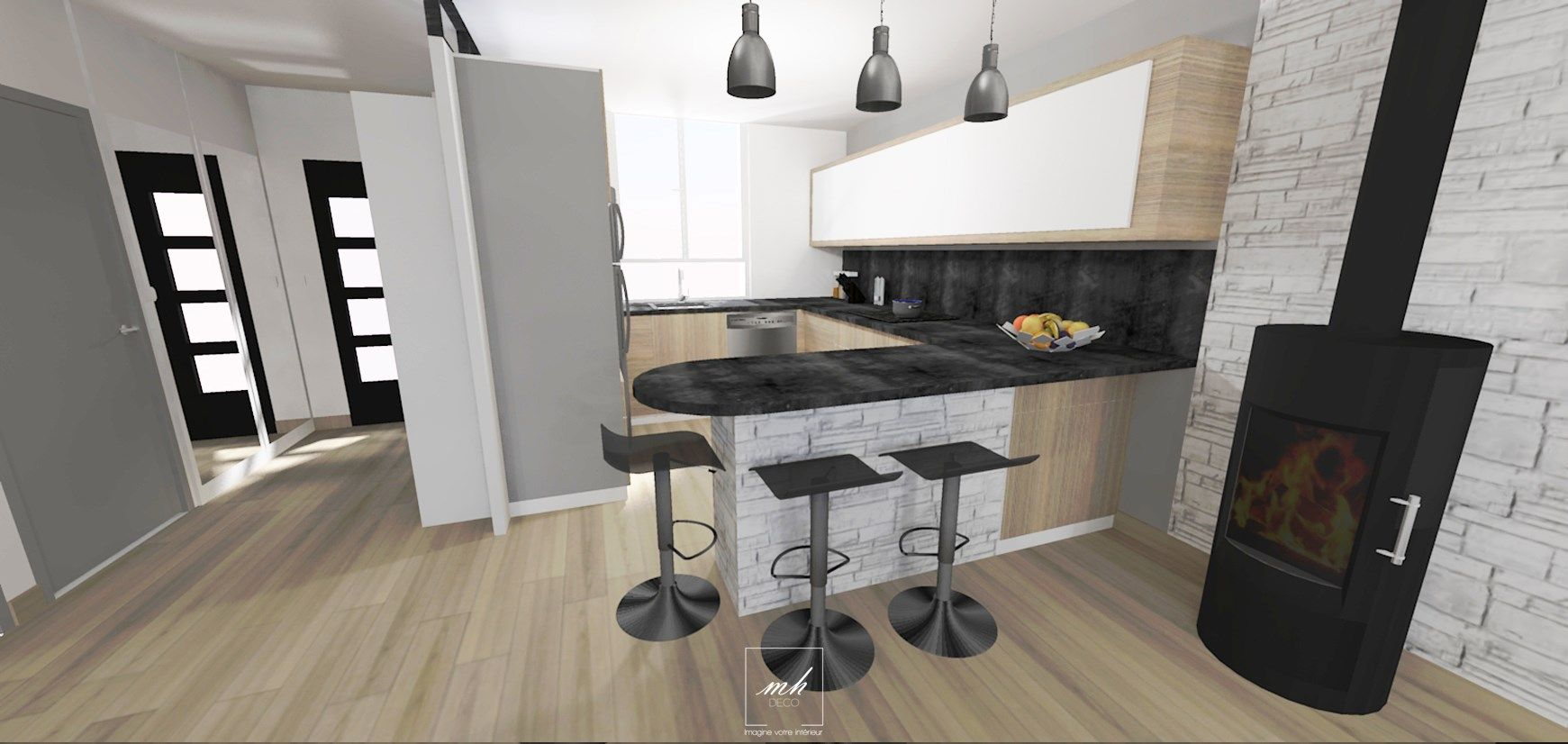 ambiance chaleureuse dans cette cuisine d 39 ile de france que notre architecte d 39 int rieur a. Black Bedroom Furniture Sets. Home Design Ideas