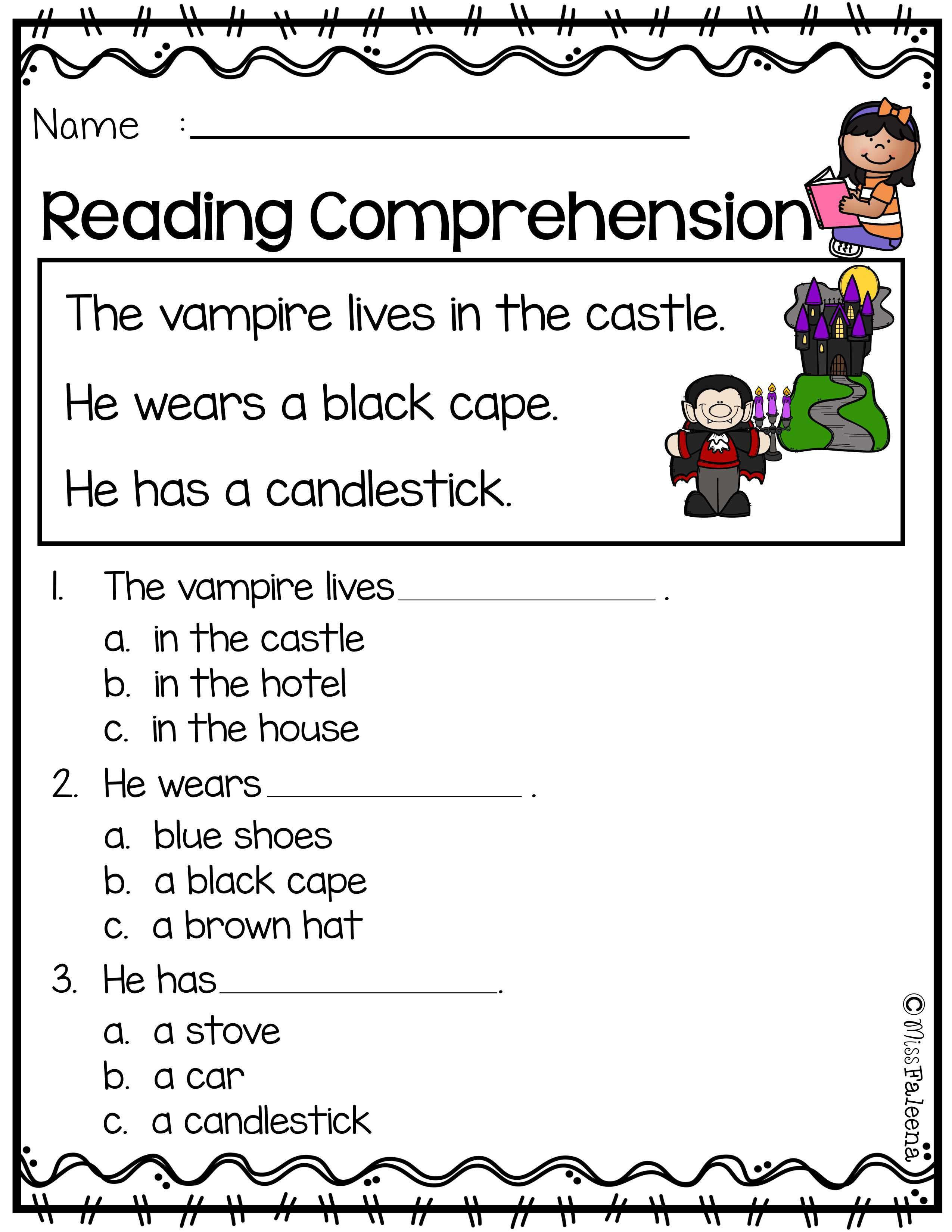 October Reading Comprehension With Images Reading