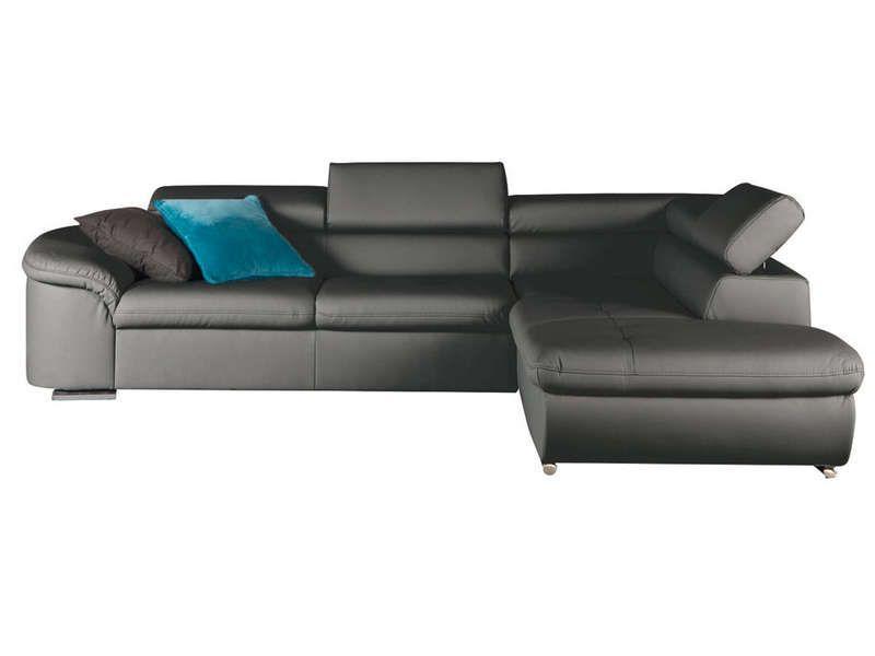 Canapé angle droit convertible FRANKLIN coloris anthractite Vente