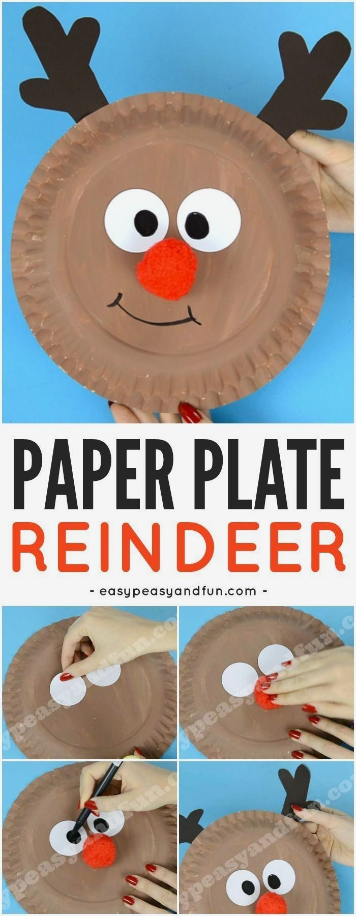 Reindeer Paper Plate Craft with a Cute Red Nose #holidaycraftsforkidstomake