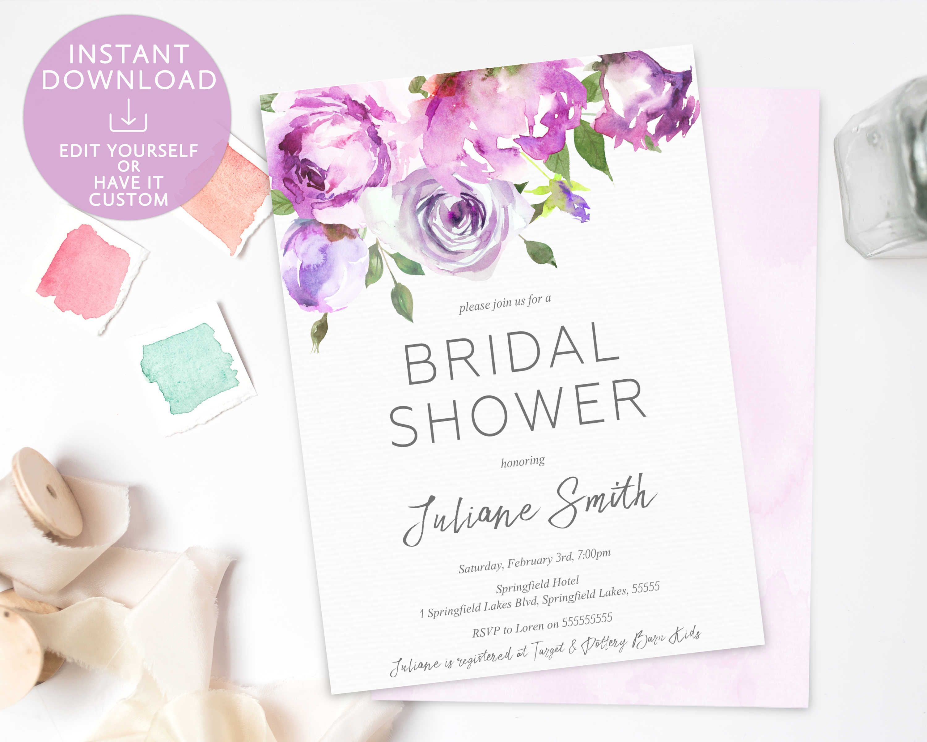 Bridal Shower Invitation Editable Pdf Template Romantic Lavender