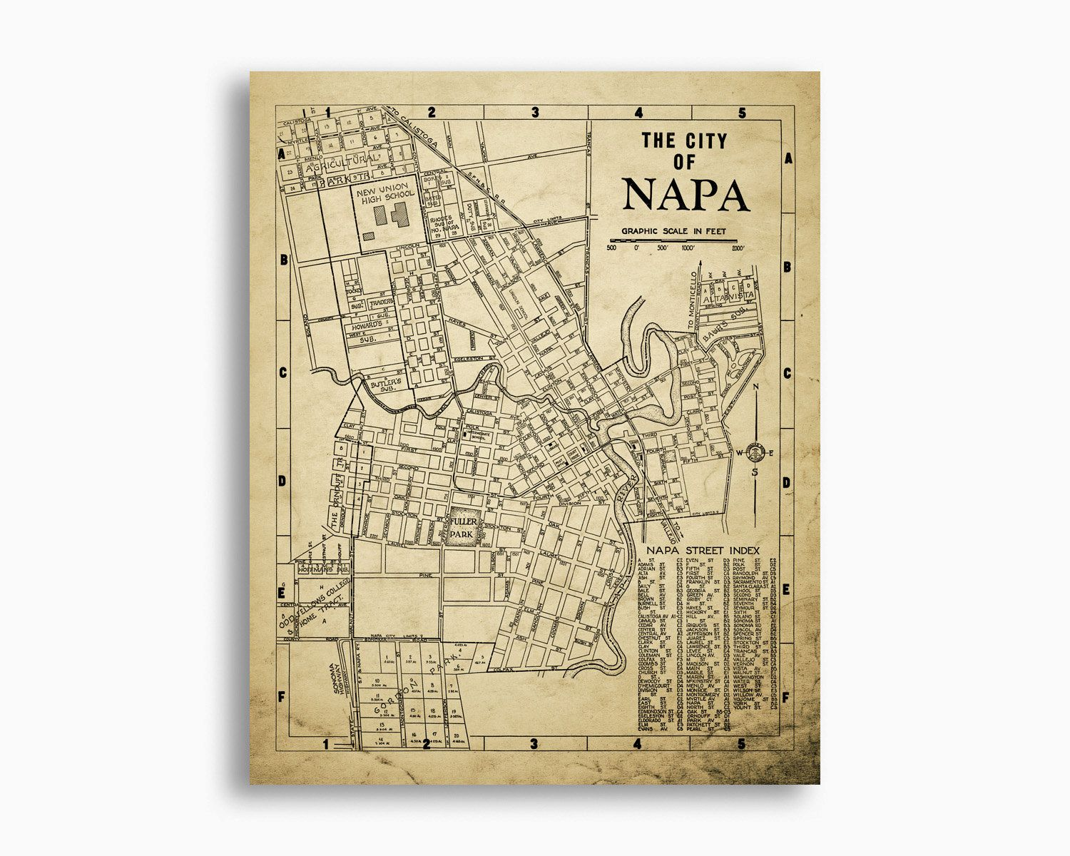 Napa California Map Vintage 1938 Design Napa by DesignOutfitters