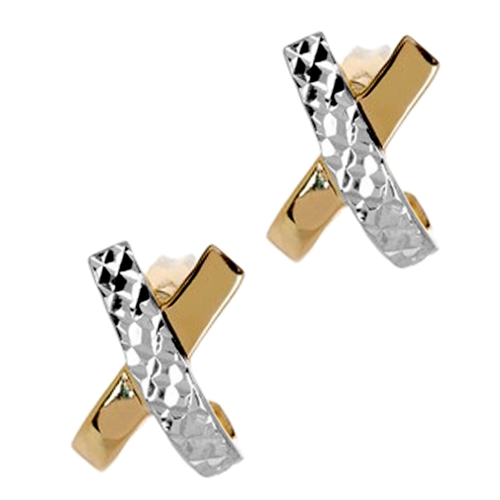 "14K Two Tone Gold Shiny With Diamond Cut ""X"" Design Stud Earrings"