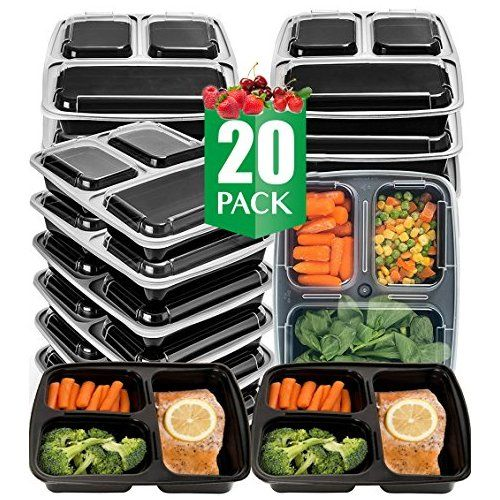 vivaware 20 pack 3 compartment meal prep containers with lids food storage bento