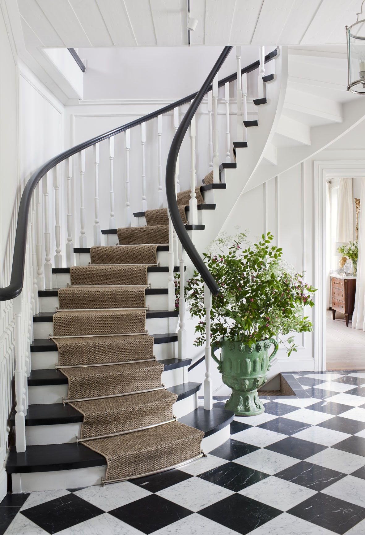 Runner In Stairs Black And White Marble Floor Photo Anne