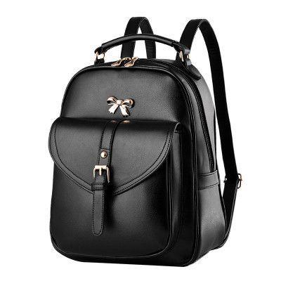 78f276d2973 2016 New Fashion Women Black Leather Backpack Brand Quality Girls Travel  School Bags Bow Knitting Woven Backpacks mochila XA679H