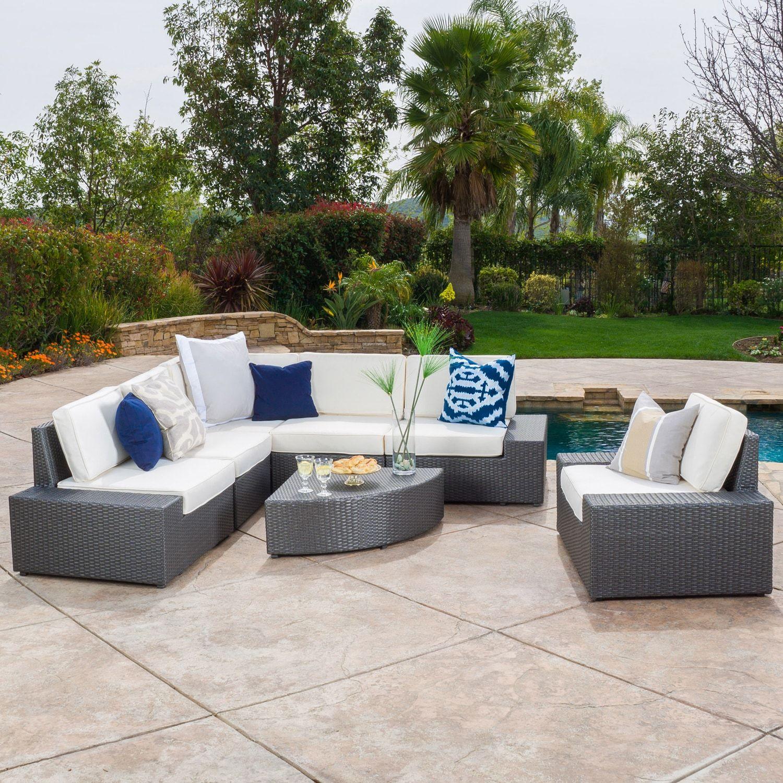 Cabo 7 Piece Gray Wicker Sofa Set With