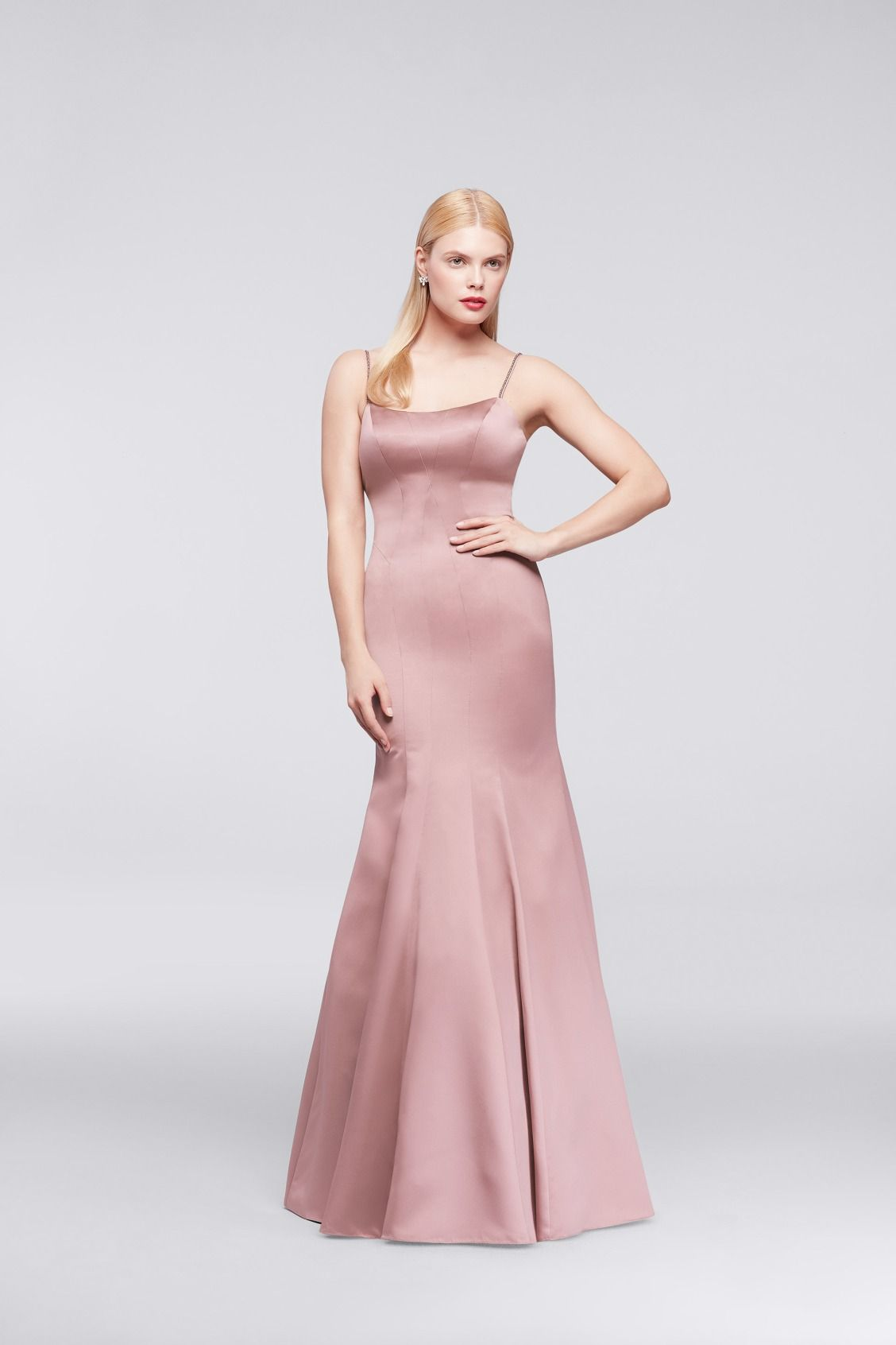 Spaghetti strap twist bodice chiffon bridesmaid dress with beaded long satin mermaid truly zac posen bridesmaid dress with jeweled straps available at davids bridal ombrellifo Image collections
