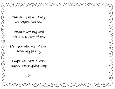 FREE Turkey Handprint Placemat Template