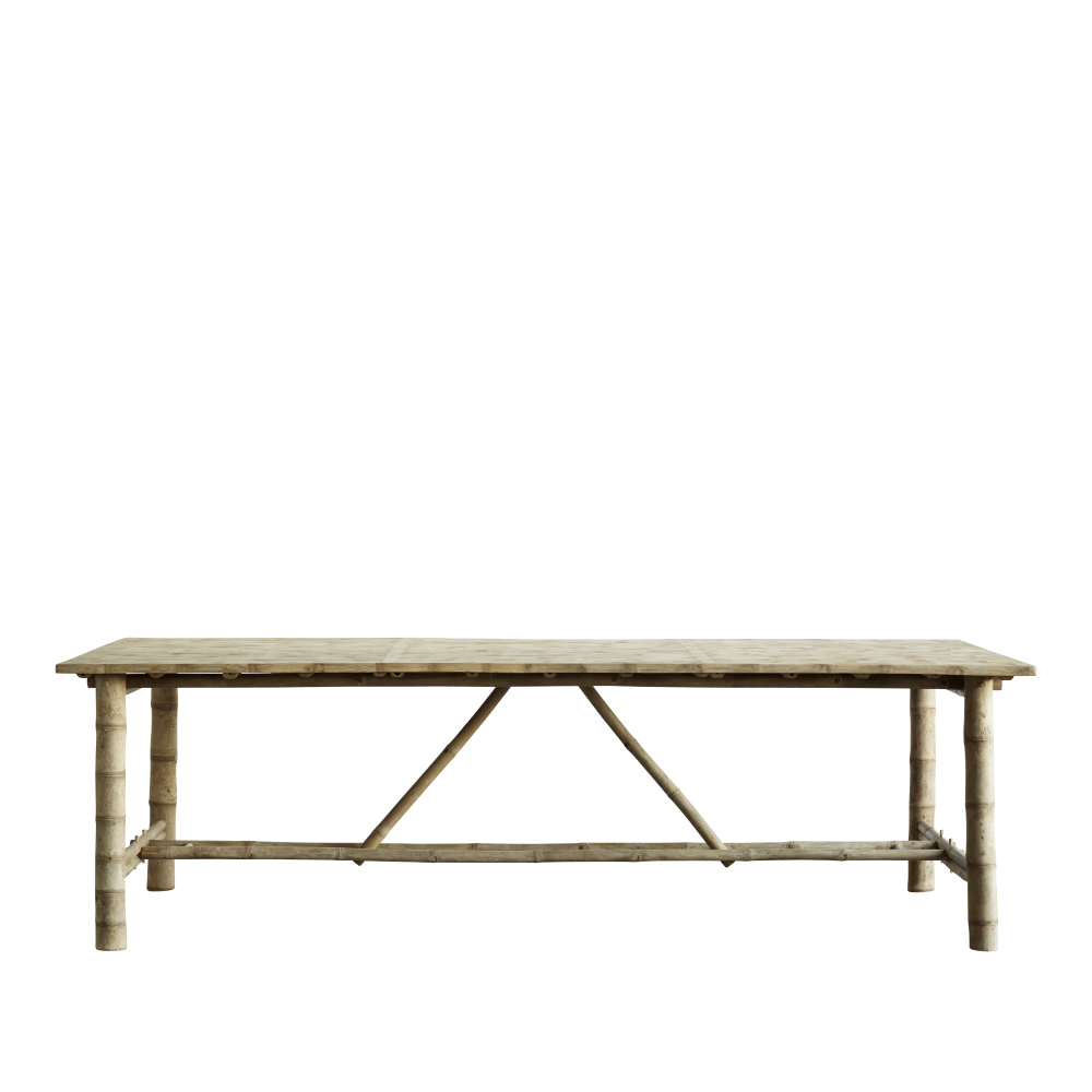 Bamboo Dining Table 250x100xh75 Cm Natural In 2020 Dining