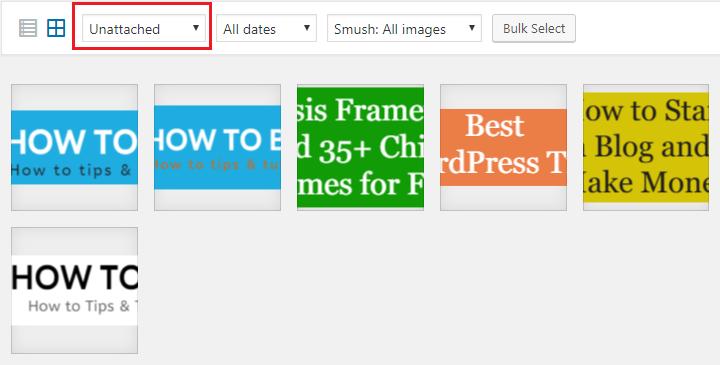 unattached images wordpress