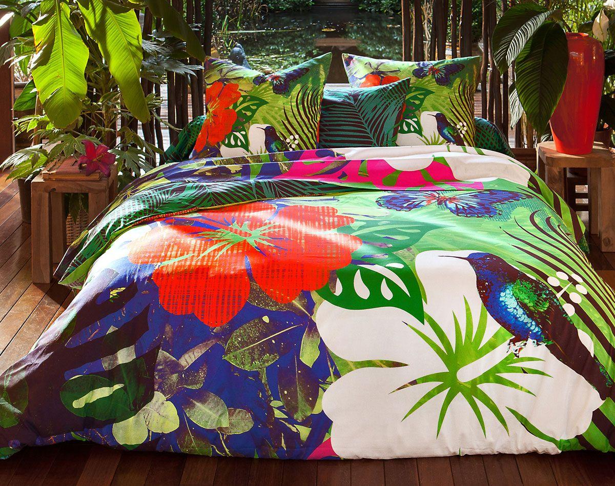 linge de lit impression digitale motif tropical housses. Black Bedroom Furniture Sets. Home Design Ideas