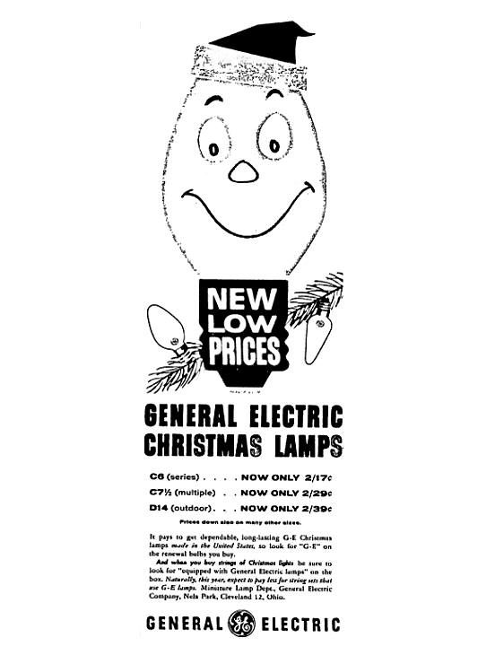 ge christmas lamps december 1960